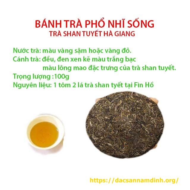 Trà bánh phổ nhĩ sống shan tuyết Hà Giang (1 tôm 2 lá)