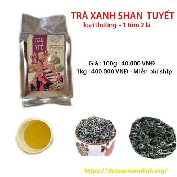 Trà xanh shan tuyết Hà Giang 1 tôm 2 lá (loại thường)