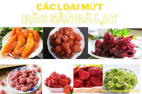 Các loại mứt đặc sản Đà Lạt (hoa hồng, cà chua, dâu tây, mận, dâu tằm, khoai lang,..)